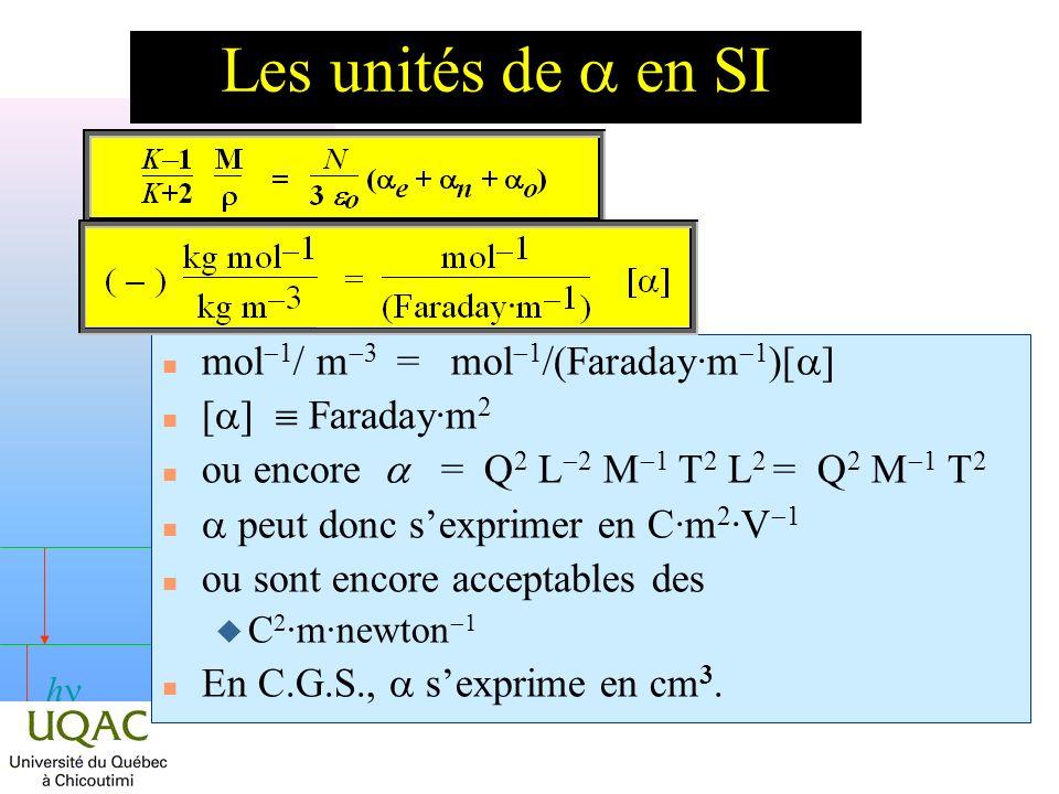 Les unités de a en SI mol-1/ m-3 = mol-1/(Faraday·m-1)[a]